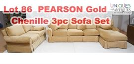 Lot 86 PEARSON Gold Chenille 3pc Sofa Set. 2 piece secti