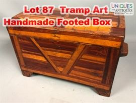 Lot 87 Tramp Art Handmade Footed Box. Folk art chest. Pi