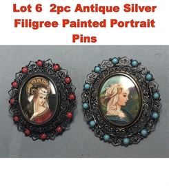 Lot 6 2pc Antique Silver Filigree Painted Portrait Pins