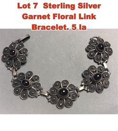 Lot 7 Sterling Silver Garnet Floral Link Bracelet. 5 la