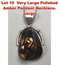 Lot 10 Very Large Polished Amber Pendant Necklace. Large
