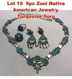 Lot 15 5pc Zuni Native American Jewelry. Turquoise flora