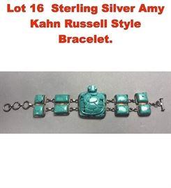 Lot 16 Sterling Silver Amy Kahn Russell Style Bracelet.