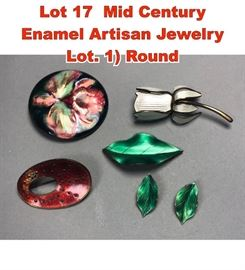 Lot 17 Mid Century Enamel Artisan Jewelry Lot. 1 Round
