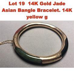 Lot 19 14K Gold Jade Asian Bangle Bracelet. 14K yellow g