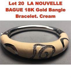 Lot 20 LA NOUVELLE BAGUE 18K Gold Bangle Bracelet. Cream