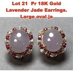 Lot 21 Pr 18K Gold Lavender Jade Earrings. Large oval ja