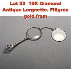 Lot 22 18K Diamond Antique Lorgnette. Filigree gold fram