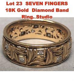Lot 23 SEVEN FINGERS 18K Gold Diamond Band Ring. Studio
