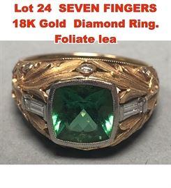 Lot 24 SEVEN FINGERS 18K Gold Diamond Ring. Foliate lea