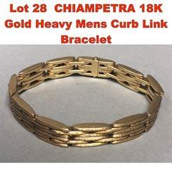 Lot 28 CHIAMPETRA 18K Gold Heavy Mens Curb Link Bracelet