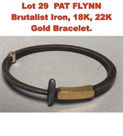 Lot 29 PAT FLYNN Brutalist Iron, 18K, 22K Gold Bracelet.