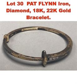 Lot 30 PAT FLYNN Iron, Diamond, 18K, 22K Gold Bracelet.