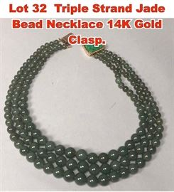 Lot 32 Triple Strand Jade Bead Necklace 14K Gold Clasp.