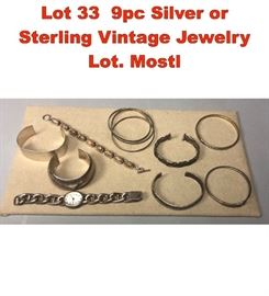 Lot 33 9pc Silver or Sterling Vintage Jewelry Lot. Mostl