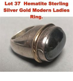 Lot 37 Hematite Sterling Silver Gold Modern Ladies Ring.
