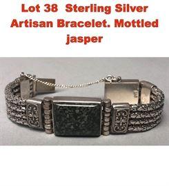 Lot 38 Sterling Silver Artisan Bracelet. Mottled jasper