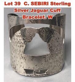 Lot 39 C. SEBIRI Sterling Silver Jaguar Cuff Bracelet. W