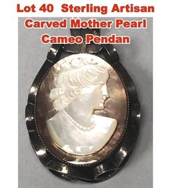 Lot 40 Sterling Artisan Carved Mother Pearl Cameo Pendan
