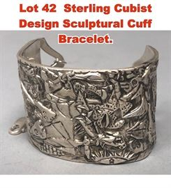 Lot 42 Sterling Cubist Design Sculptural Cuff Bracelet.