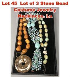 Lot 45 Lot of 3 Stone Bead Costume Jewelry Necklaces. La