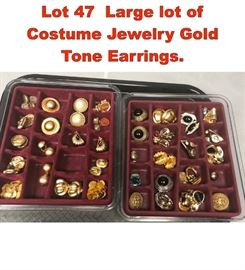 Lot 47 Large lot of Costume Jewelry Gold Tone Earrings.