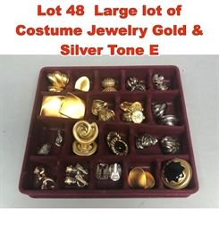 Lot 48 Large lot of Costume Jewelry Gold  Silver Tone E