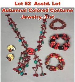 Lot 52 Asstd. Lot Autumnal Colored Costume Jewelry. 3 st