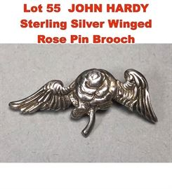 Lot 55 JOHN HARDY Sterling Silver Winged Rose Pin Brooch