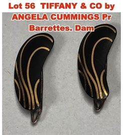Lot 56 TIFFANY  CO by ANGELA CUMMINGS Pr Barrettes. Dam