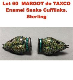 Lot 60 MARGOT de TAXCO Enamel Snake Cufflinks. Sterling