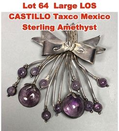 Lot 64 Large LOS CASTILLO Taxco Mexico Sterling Amethyst