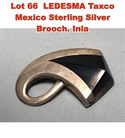 Lot 66 LEDESMA Taxco Mexico Sterling Silver Brooch. Inla