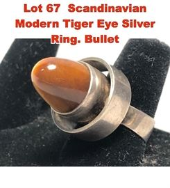 Lot 67 Scandinavian Modern Tiger Eye Silver Ring. Bullet
