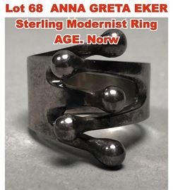 Lot 68 ANNA GRETA EKER Sterling Modernist Ring AGE. Norw