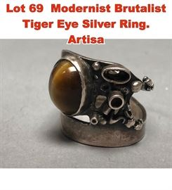 Lot 69 Modernist Brutalist Tiger Eye Silver Ring. Artisa