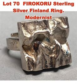 Lot 70 FIROKORU Sterling Silver Finland Ring. Modernist