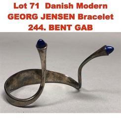 Lot 71 Danish Modern GEORG JENSEN Bracelet 244. BENT GAB
