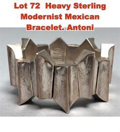Lot 72 Heavy Sterling Modernist Mexican Bracelet. Antoni