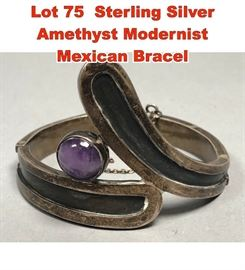 Lot 75 Sterling Silver Amethyst Modernist Mexican Bracel