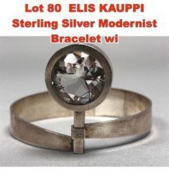 Lot 80 ELIS KAUPPI Sterling Silver Modernist Bracelet wi