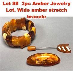 Lot 88 3pc Amber Jewelry Lot. Wide amber stretch bracele