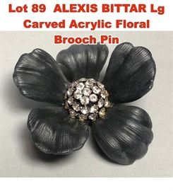 Lot 89 ALEXIS BITTAR Lg Carved Acrylic Floral Brooch Pin