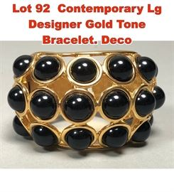 Lot 92 Contemporary Lg Designer Gold Tone Bracelet. Deco