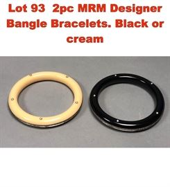 Lot 93 2pc MRM Designer Bangle Bracelets. Black or cream