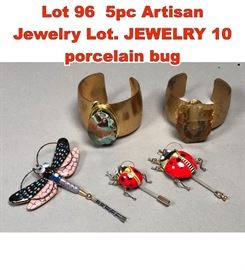 Lot 96 5pc Artisan Jewelry Lot. JEWELRY 10 porcelain bug