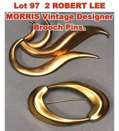 Lot 97 2 ROBERT LEE MORRIS Vintage Designer Brooch Pins.