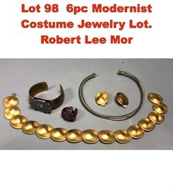 Lot 98 6pc Modernist Costume Jewelry Lot. Robert Lee Mor