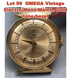 Lot 99 OMEGA Vintage Electro Mens Watch. Gold tone bezel