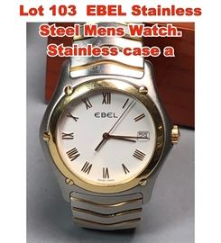 Lot 103 EBEL Stainless Steel Mens Watch. Stainless case a